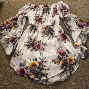 Floral Off-Shoulder Dress/NEW size:S